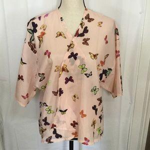 Vintage Blush Pink Butterfly Kimono Jacket M L